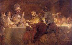 """Rembrandt, """"La conspiración de Claudius Civilis"""" Obra de Rembrandt considerada como la más completa en su narrativa y simbología, presenta un trozo de la historia del siglo 1 a. C. Sobre un pequeño pueblo que conspiraba contra el gran imperio romano y su césar. Pintada en 1662, actualmente en el Nationalmuseum, Estocolmo."""