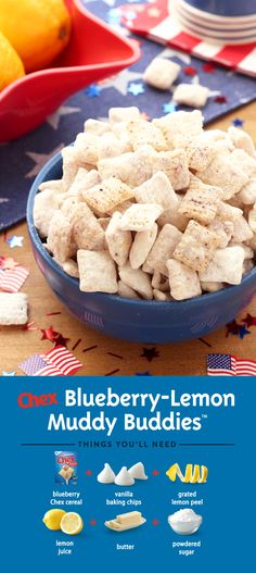 A 4th of July treat the whole family will love! Blueberry Lemon Muddy Buddies is made with Blueberry Chex and fresh lemon for a flavorful taste that's ready to enjoy in just 15 minutes.