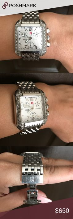 Authentic Michele Diamond Watch Michele diamond watch. Silver steel. Watch was sized don't have the extra links. Michele Accessories Watches