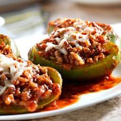 Simply Mangerchine: Italian Stuffed Peppers.  Basically followed the recipe, but seasoned as I saw fit.  Delicious!!