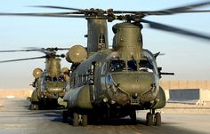 Chinook Helicopters Preparing for Take Off from Camp Bastion Airfield, Afghanistan
