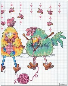 Borduurpatroon Funny Cartoon *Cross Stitch with Funny Cartoon ~Breiende Kippen Chicken Cross Stitch, Cross Stitch Bird, Cross Stitch Borders, Cross Stitch Animals, Cross Stitch Charts, Cross Stitch Designs, Cross Stitching, Cross Stitch Embroidery, Cross Stitch Patterns