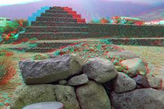 Pyramids of Guimar Tenerife in anaglyph 3D stereo red blue glasses to view   Flickr - Photo Sharing!