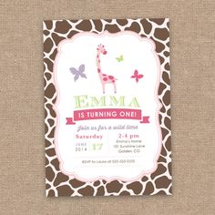 Hey, I found this really awesome Etsy listing at https://www.etsy.com/listing/188068185/giraffe-first-girl-birthday-invitation