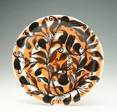 Dinner Plate Black Flowers Leaves and Thorns by owlcreekceramics