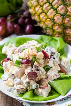 Tropical Chicken Salad - With pineapple, grapes, and macadamia nuts.