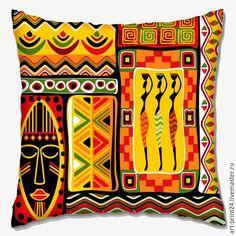 """Купить Подушка декоративная """"Африка"""" - комбинированный, Подушки, подушки декоративные, подушки диванные, подушка с принтом"""