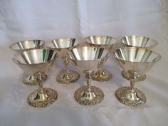 Vintage Set of 7 GRAND BAROQUE Wine Goblets by WALLACE Silver Plate Estate #Wallace