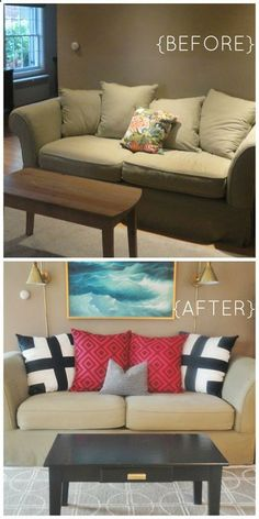 Living room paint ideas with olive green couches audrey - Before and after the spectacular change of a s living room ...