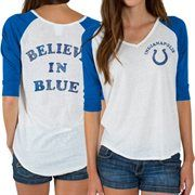 Indianapolis Colts Junk Food Women's Victory Tri-Blend V-Neck Three-Quarter Sleeve T-Shirt – White