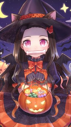 halloween, Nezuko Kamado, Demon Slayer: Kimetsu no Yaiba / ハロウィン豆子 - pixiv Anime Neko, Chica Anime Manga, Otaku Anime, Anime Halloween, Happy Halloween, Kawaii Halloween, Halloween Dress, Halloween Halloween, Anime Girl Cute