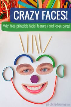 Make these crazy faces with some loose parts and FREE printable facial features! #preschool #efl #education (repinned by Super Simple Songs)