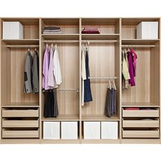 IKEA PAX Wardrobe with interior organizers, white stained oak effect,... (€1.560) ❤ liked on Polyvore featuring closet, bedroom, furniture, interior and moveis