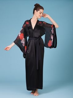Printed black orange georgette silk kimono robe butterfly lovers 6bfe613a2