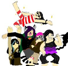 (Summer 2016) Oh look, an old Draw Your Squad drawing! It's so ugly! The person flying is me, and then I'll name my OCs from left to right; Lana (TMR), Nicolette Black (HP), Katrina Marrow (CP), Astronomina Aerialene (MC:SM)