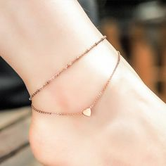 Cute Rose Gold Mini Heart Anklet