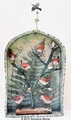 Ceramic Wrens by Georgina Warne Ceramic Pottery, Pottery Art, Ceramic Art, Ceramic Techniques, Ceramic Animals, Sculpture Clay, Animal Sculptures, Clay Projects, Bird Art