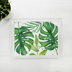 Lucite Tray - Tropical Leaves Lucite Tray, Tropical Leaves, Trays, Plant Leaves, Apartment Ideas, Unique Jewelry, Handmade Gifts, Plants, Etsy