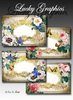Digital Collage Sheet - Greeting Cards, Hang tag ,Gift tag - Scrapbooking Supplies - Printable Download -set 106