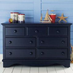 navy blue painted dressers | ... Painted Dark Blue Walden Dresser - Midnight Blue 7-Drawer Dresser #bedroomfurnitureblue