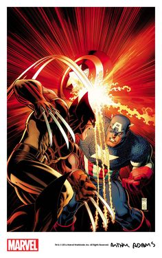 """themarvelproject: """" Captain America vs. Wolverine by Art Adams (2016) in an homage to Mike Zeck's iconic cover to Captain America Annual #8 (1986). The piece is a Captain America 75th anniversary tie-in that will be published as one of the variant..."""