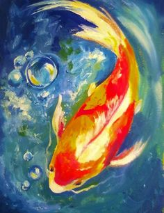Kio Fish with Bubble: Check out the swirling background that gives movement to this fish. # gingercooklive #art