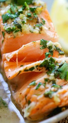 garlic herb roasted salmon (must make)