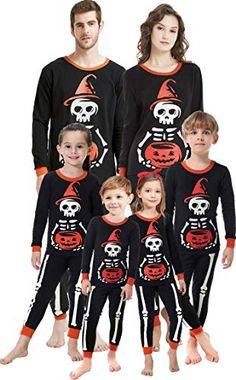 shelry Matching Family Pajamas Halloween Costumes Glow in Dark 2 Piece PJs  for Mom Dad Kids f3ffd9700