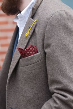 Pocket square and button hole detail