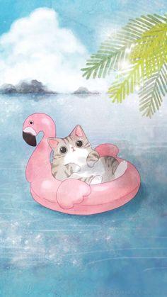 New wallpaper cute cat gatos Ideas Gatos Wallpapers, Photo Chat, Kawaii Wallpaper, Cute Cat Wallpaper, Summer Wallpaper, Kawaii Drawings, Drawings Of Cats, Cat Drawing, Cat Breeds