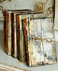 I tied each book with a piece of kitchen twine and added a little more El Dorado Gold on the high points for some extra shimmer.