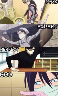 Genos (One Punch Man) Levi (Shingeki no Kyojin / Atack on Titan Sakamoto (Sakamoto desu ga?) Yato (Noragami) >>> I need one of those, I hate cleaning >WH<. Anime Meme, Otaku Anime, Manga Anime, Got Anime, Anime Guys, Manga Art, Anime Art, Noragami Anime, Noragami Bishamon