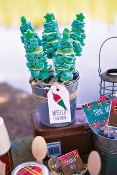 pine tree candy skewers ... so cute for an outdoor or camping party