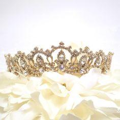 Rhinestone Bridal Tiara, Wedding Tiara, Crystal Bridal headpiece, Dramatic headpiece, Gold Tiara, Silver Tiara by TheExquisiteBride on Etsy https://www.etsy.com/listing/202653229/rhinestone-bridal-tiara-wedding-tiara
