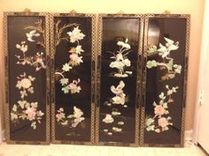 Asian Oriental Set 4 BLACK LACQUER Mother Pearl Wall ART Hanging Panels Decor