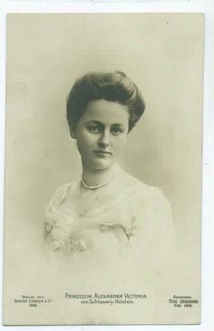 Princess Alexandra Viktoria of Schleswig-Holstein-Sonderburg-Glucksburg (21 April 1887--15 April 1957), 2nd daughter of Princess Karoline Mathilde and Prince Friedrich Ferdinand.  She would marry a great-grandson of Queen Victoria.