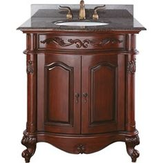 Images Of Avanity Provence inch Single Vanity in Antique Cherry Finish with Sink and Top Estates Vanity with Brown Granite Top and Sink