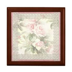 """Lacy Ribbon """"Misty Rose"""" Wooden Gift Box"""
