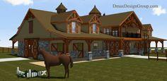 8 Stall, Tack, Wash, 3 Bedroom Horse Barn w/ Living Quarters  Copyrights Dmaxdesigngroup.com