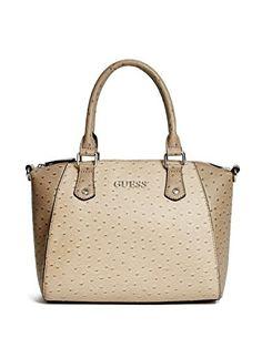 Guess Women's Harmony Ostrich Satchel Bag Handbag, Black / Beige ...
