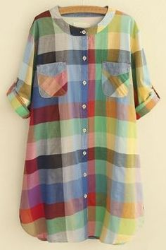 Colorful Round Neck Long Sleeves Button Down Long Shirts