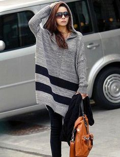 New Styles Gray Knitting Fashion Style V-neck Long Sleeve Sweaters & Knits