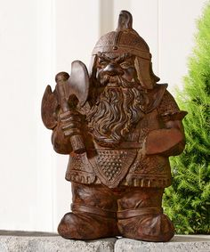 This Battle Axe Viking Cement Garden Gnome Statue is perfect! #zulilyfinds