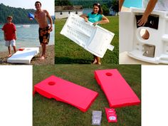 This Cornhole game is made in the USA with recycled plastic. It is the only all weather cornhole board that you can take anywhere! This is the perfect Eco Friendly Game to play with your friends and family. Great for Tailgating, the Beach, Camping and Barbeques.