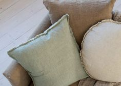 Our linen cushions are a wonderful layering piece in any room. Flocca linen cushions are finished with a double stitch hem and have hand 'tufted' edges. Linen Sheets, Linen Bedding, Linen Fabric, Cushion Covers, Cushions, Throw Pillows, Pure Products, Layering, Stitch