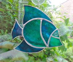 Stained Glass Fish Suncatcher - Turquoise and Teal £12.00