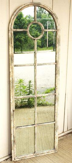 Distressed shabby chic white mirror... love