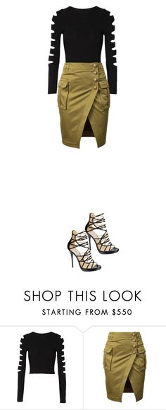 """Sin título #2956"" by swagger97 ❤ liked on Polyvore featuring Cushnie Et Ochs, Balmain and Jimmy Choo"