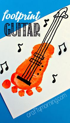 """Idea for dads birthday- footprint guitar craft and write, """"You rock!"""""""
