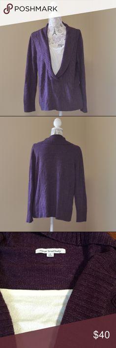 "(5for25) Mercer Street Purple V Neck Sweater Combo Description: Built in Cami. Argyle detail  Bust:  23"" flat across Length:  22"" from shoulder to hem Defects: None Condition: Excellent   Model Stats: Lucy Shoulders 30"" Bust 35"" Waist 28"" Hips 35.5"" Mercer Street Studio Sweaters V-Necks"